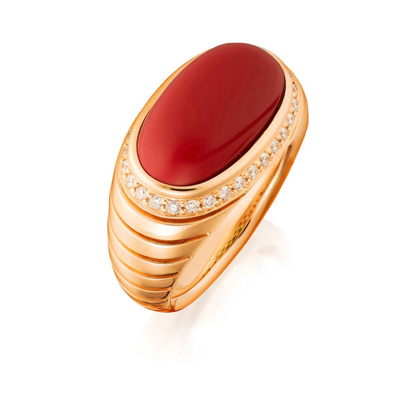 Aurelia Coral and Diamond Dress Ring