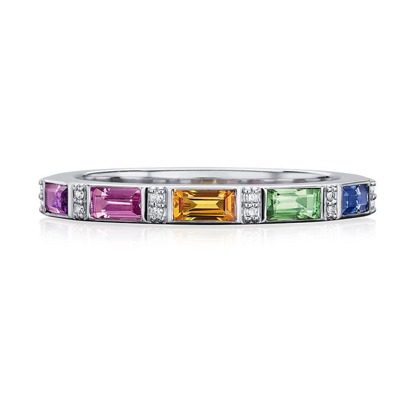 Aurelia 18ct White Gold Multi-Stone Half Eternity Ring
