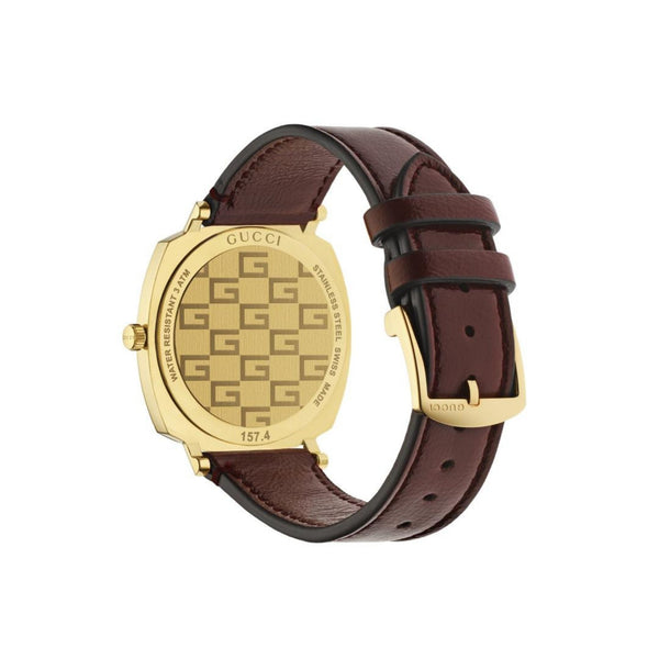 Gucci Grip Yellow Gold PVD Watch Bordeaux Leather 38mm back view