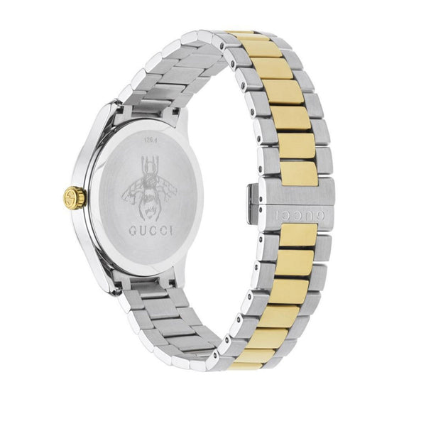 Gucci G-Timeless Silver & Bi-Colour Strap Feline 38mm back view