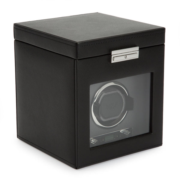 Wolf Viceroy Single Watch Winder in black cover closed angled view