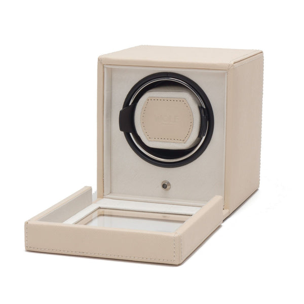 Wolf Cub Single Watch Winder in cream cover open angled view