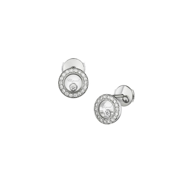 Chopard Happy Diamonds Icons 18ct White Gold Diamond Earrings 83A017-1201