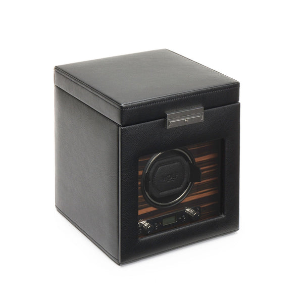 Wolf Roadster Single Watch Winder in black case closed angled view