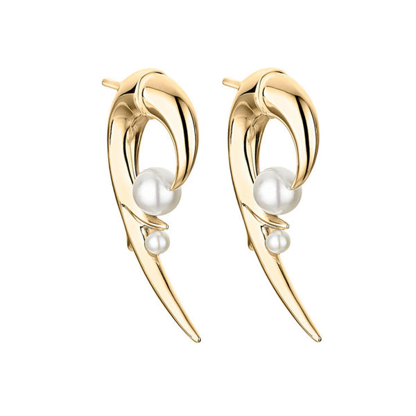 Shaun Leane Yellow Gold Vermeil Cherry Blossom Pearl Hook Earrings CB051.YVNAEOS