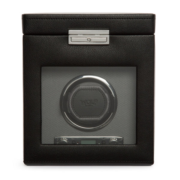 Wolf Viceroy Single Watch Winder in black cover closed front view