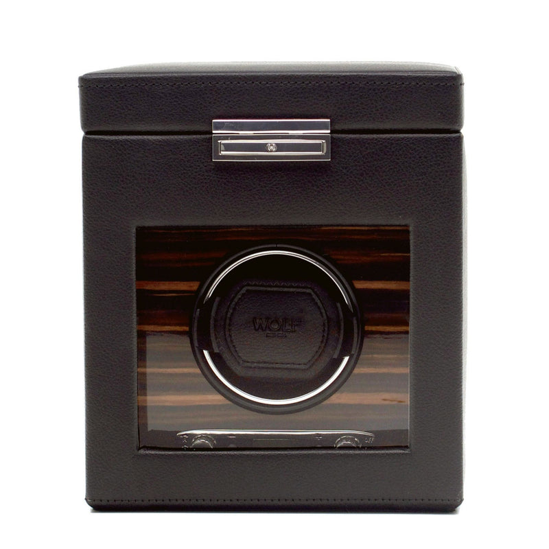Wolf Roadster Single Watch Winder in black case closed front view