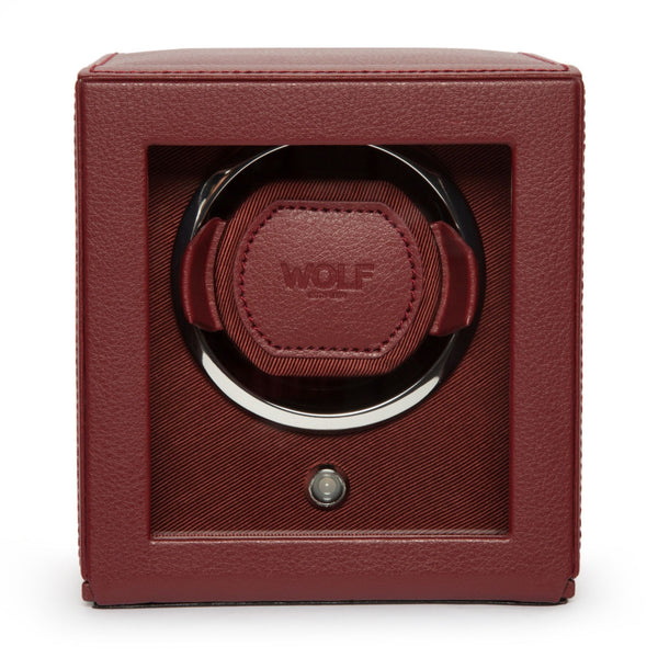 WOLF single watch winder in red open front view case closed