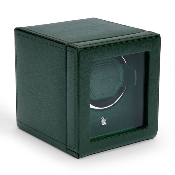 Wolf Cub Single Watch Winder with Cover closed in green angled view