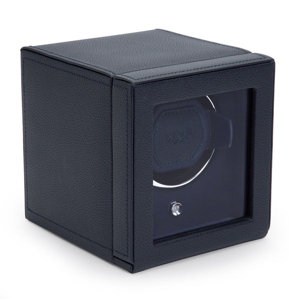Wolf Cub Single Watch Winder in navy cover closed angled view