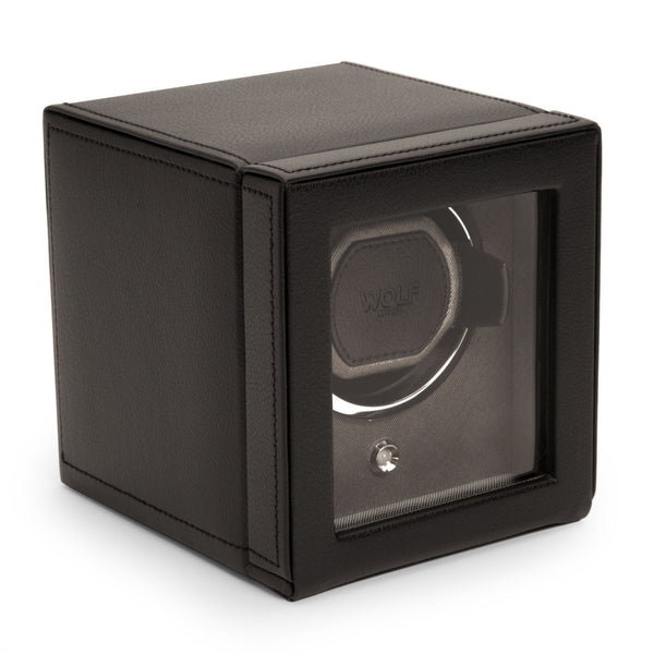 Wolf Cub Single Watch Winder with Cover closed in black angled view