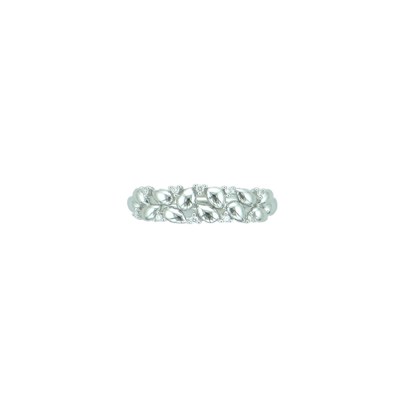 9ct White Gold Diamond Abstract Ring