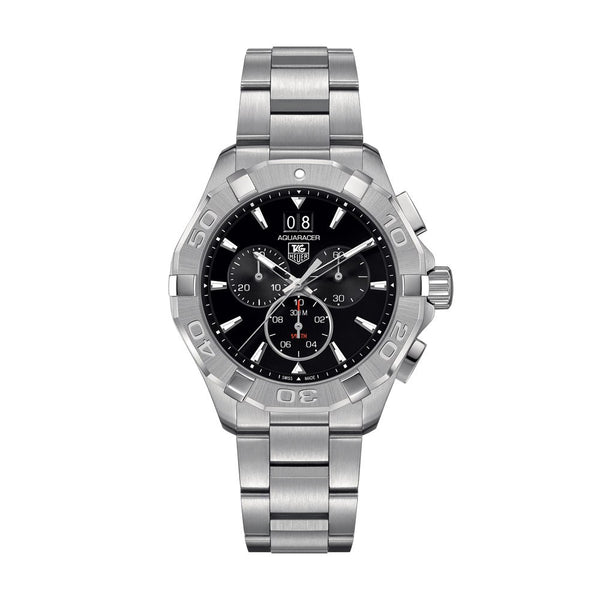 TAG Heuer Aquaracer Quartz Chronograph Black Dial Steel Bracelet 43mm CAY1110.BA0927 Face