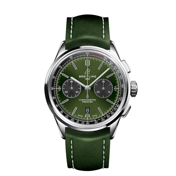 Breitling Premier B01 Chronograph 42 Bentley British Racing Green 42mm AB0118A61C1P1 Face