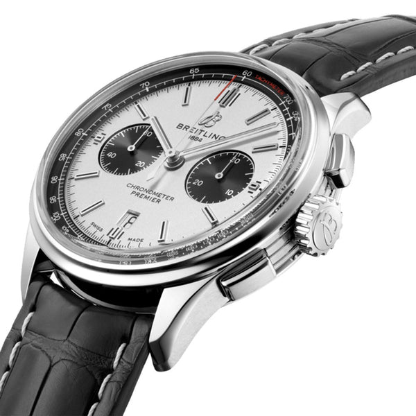 Breitling Premier B01 Chronograph 42 Silver Dial & Leather Strap 42mm AB0118221G1P1