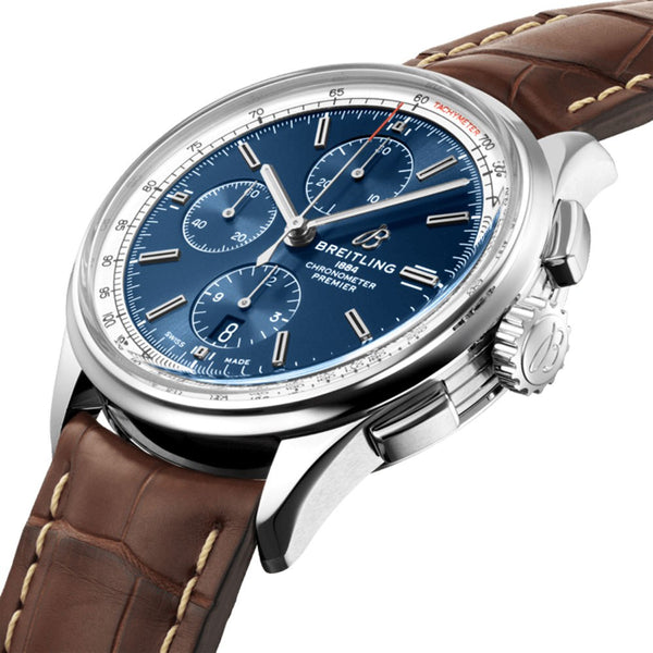 Breitling Premier Chronograph 42 Blue Dial & Brown Leather Strap 42mm A13315351C1P1