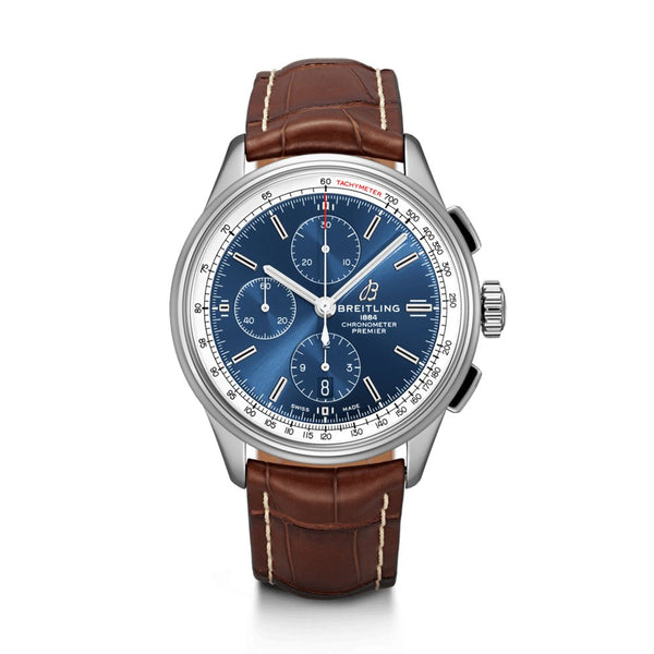 Breitling Premier Chronograph 42 Blue Dial & Brown Leather Strap 42mm