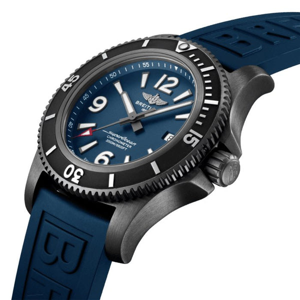 Breitling Superocean Automatic 46 BlackSteel Blue Tang M17368D71C1S1 Crown