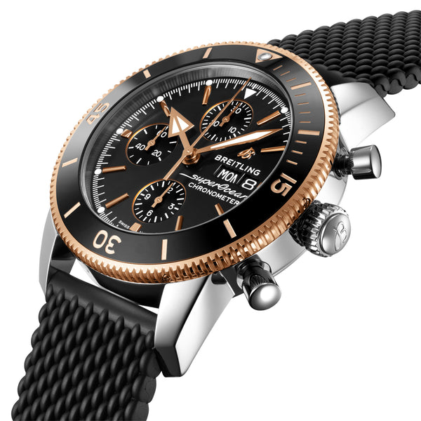 Breitling Superocean Heritage Chronograph 44 Steel & Rose Gold Volcano Black U13313121B1S1 Crown
