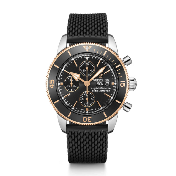 Breitling Superocean Heritage Chronograph 44 Steel & Rose Gold Volcano Black U13313121B1S1 Face