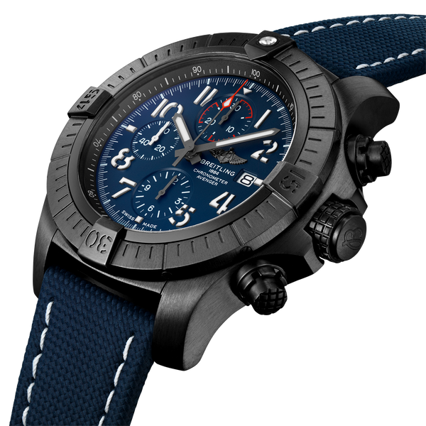 Breitling Avenger Chronograph 48 Night Mission Black Titanium - Blue V13375101C1X2 Angle
