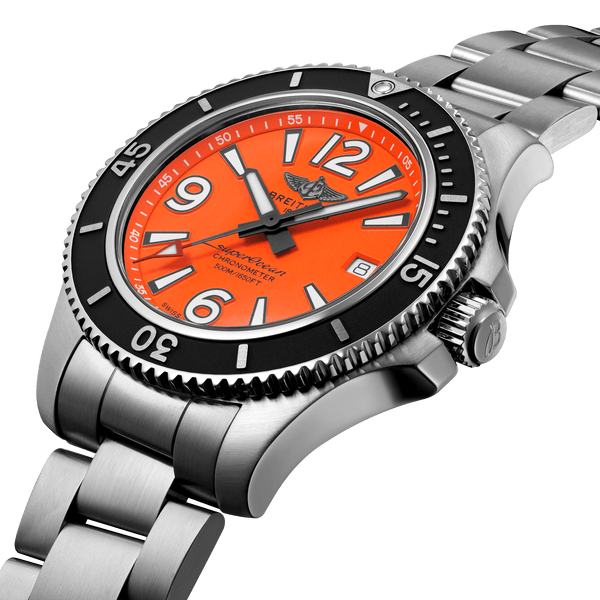 Breitling Superocean Automatic 42 Steel - Orange A17366D71O1A1 Angle