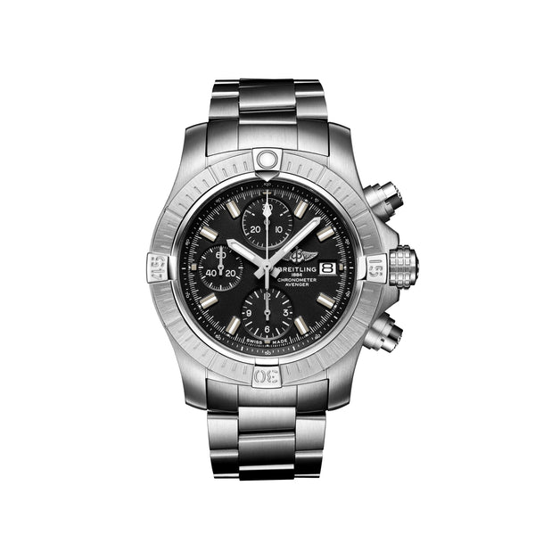 Breitling Avenger Chronograph 43 Steel Black A13385101B1A1 Face