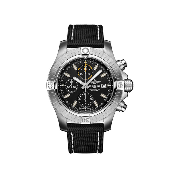 Breitling Avenger Chronograph 45 A13317101B1X2 Steel case with black military leather strap