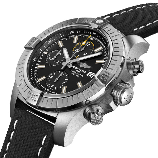 Breitling Avenger Chronograph 45 A13317101B1X2 Steel case with black military leather strap (Side image)
