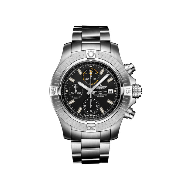 Breitling Avenger Chronograph 45 Steel Black Watch A13317101B1A1 Face