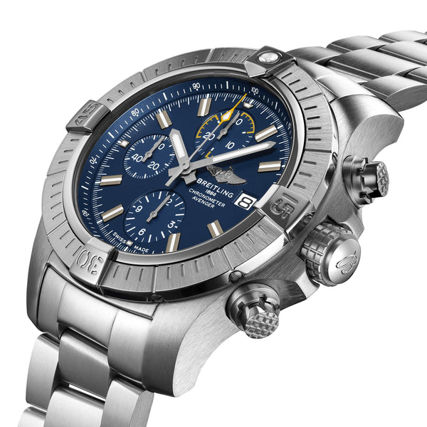 Breitling Avenger Chronograph 45 Steel Blue Watch A13317101C1A1 Crown