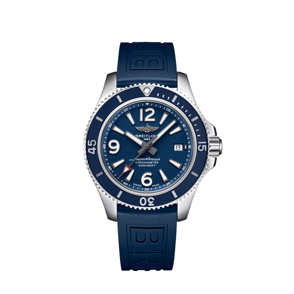 Breitling Superocean Automatic 42 Watch Blue Dial & Blue Rubber Strap 42mm A17366D81C1S1 Face
