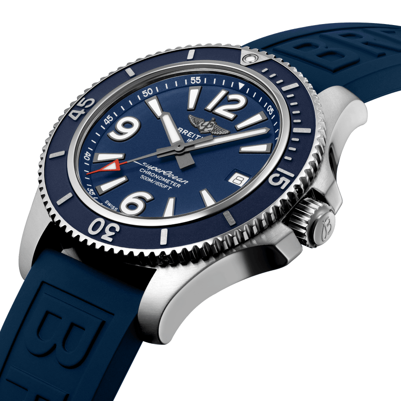 Breitling Superocean Automatic 42 Watch Blue Dial & Blue Rubber Strap 42mm A17366D81C1S1 Crown