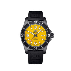 Breitling Superocean Automatic 46 BlackSteel Yellow Dial Face
