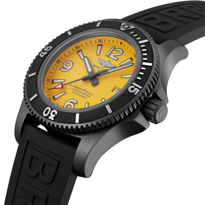 Breitling Superocean Automatic 46 BlackSteel Yellow Dial Crown