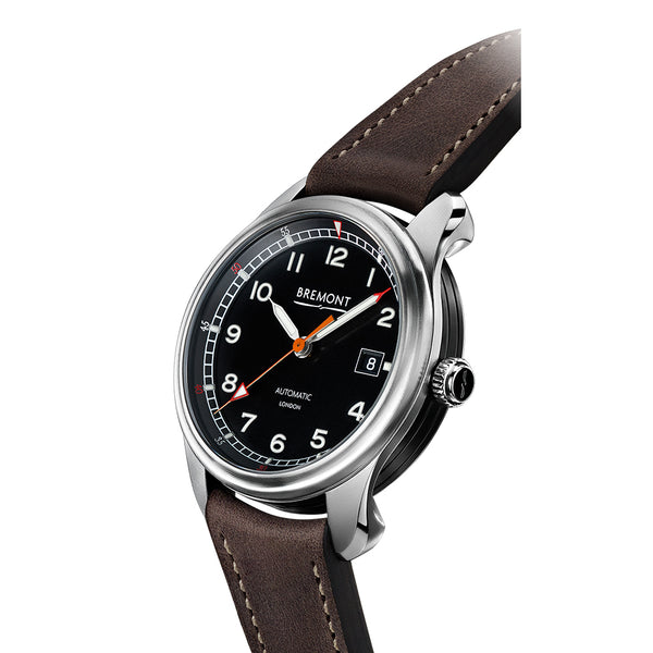 Bremont Airco Mach 1 Black Dial & Brown Leather Strap 40mm AIRCO MACH 1/BK Crown