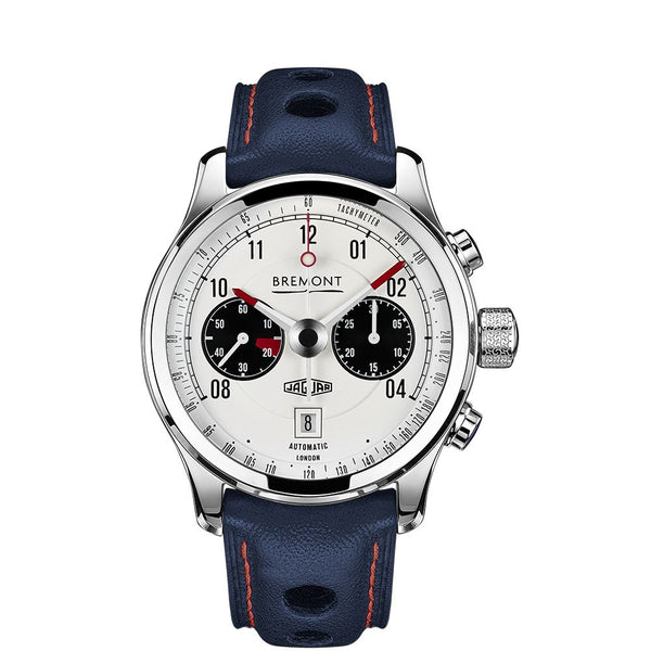 Bremont Jaguar MKII White Chronograph Watch 43mm BJ-II/WH/R Face
