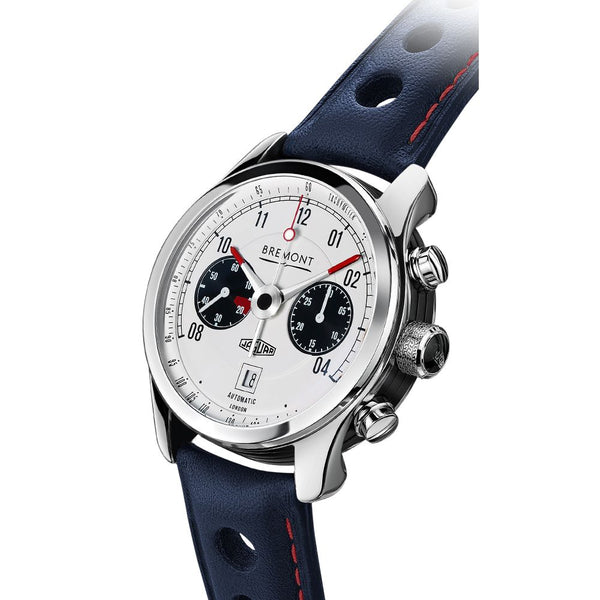 Bremont Jaguar MKII White Chronograph Watch 43mm BJ-II/WH/R Crown