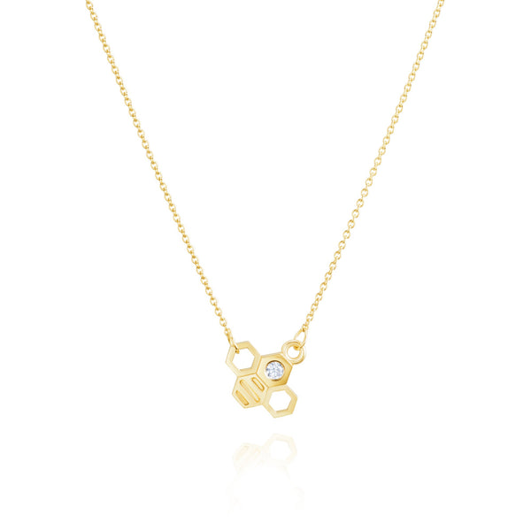 Burrells Bees 9ct Yellow Gold Horizontal Large Diamond Bee Necklace