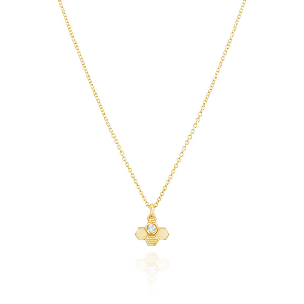 Burrells Bees 9ct Yellow Gold Vertical Tiny Diamond Bee Necklace