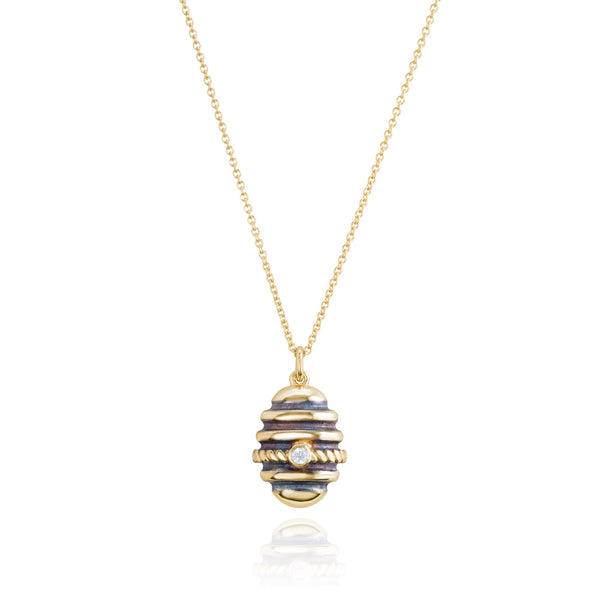 "Burrells Bees Yellow Gold Plated Bee Hive 18"" Necklace"
