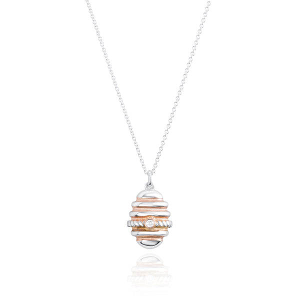 Burrells Bees Silver & Rose Gold Plated Bee Hive Necklace