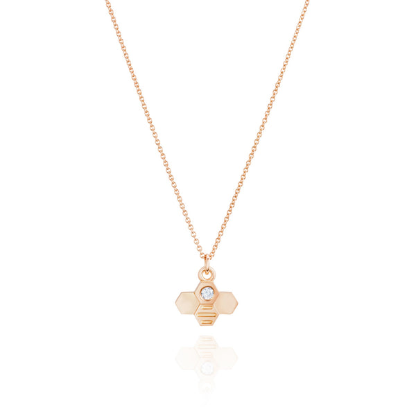 "Burrells Bees Rose Gold Plated Vertical Large Bee 18"" Necklace"