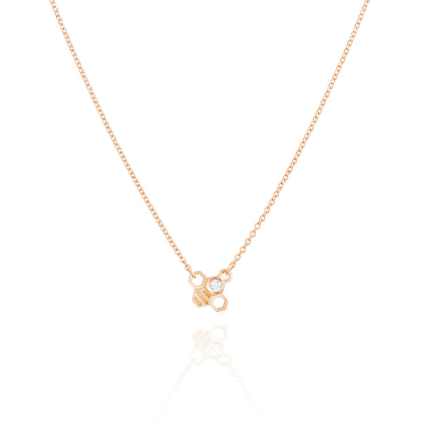 "Burrells Bees Rose Gold Plated Horizontal Tiny Bee 16"" Necklace"