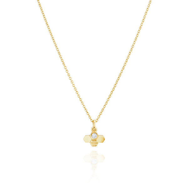 Burrells Bees Yellow Gold Plated Vertical Tiny Bee Necklace