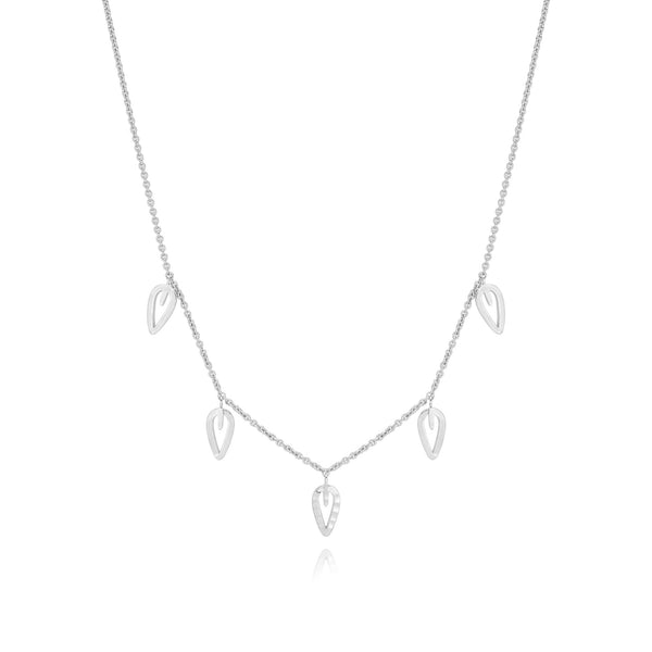 Burrells Gaia Five Leaf Necklace VJN4675 SIL