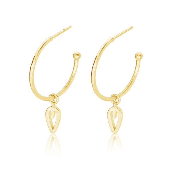 Burrells Gaia Textured Leaf Drop Hoop Earrings VJE10312 YGP