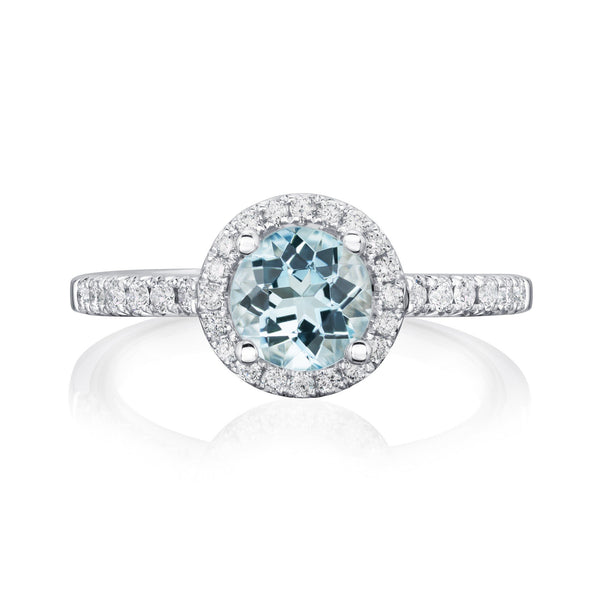 Burrells Halo 18ct White Gold Aquamarine & Diamond Halo Ring Front View Image