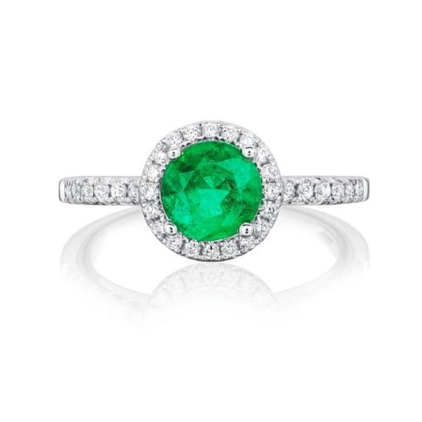 Burrells Halo 18ct White Gold Emerald & Diamond Halo Ring