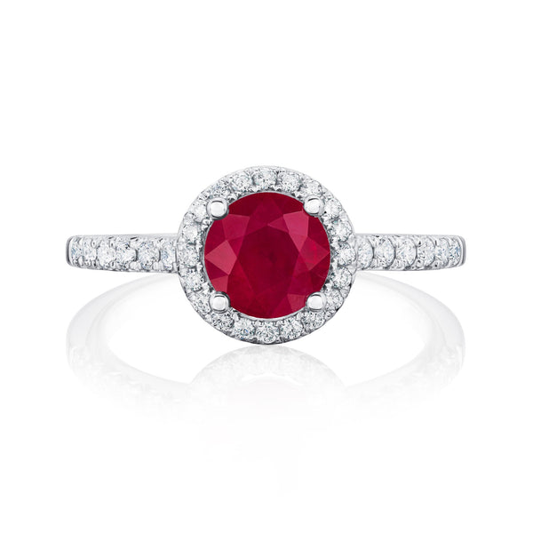 Burrells Halo 18ct White Gold Ruby & Diamond Ring